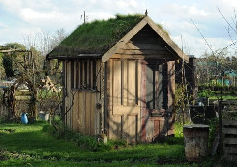 Simon's Shed with a traditional grass roof. Photograph: Damian Walker