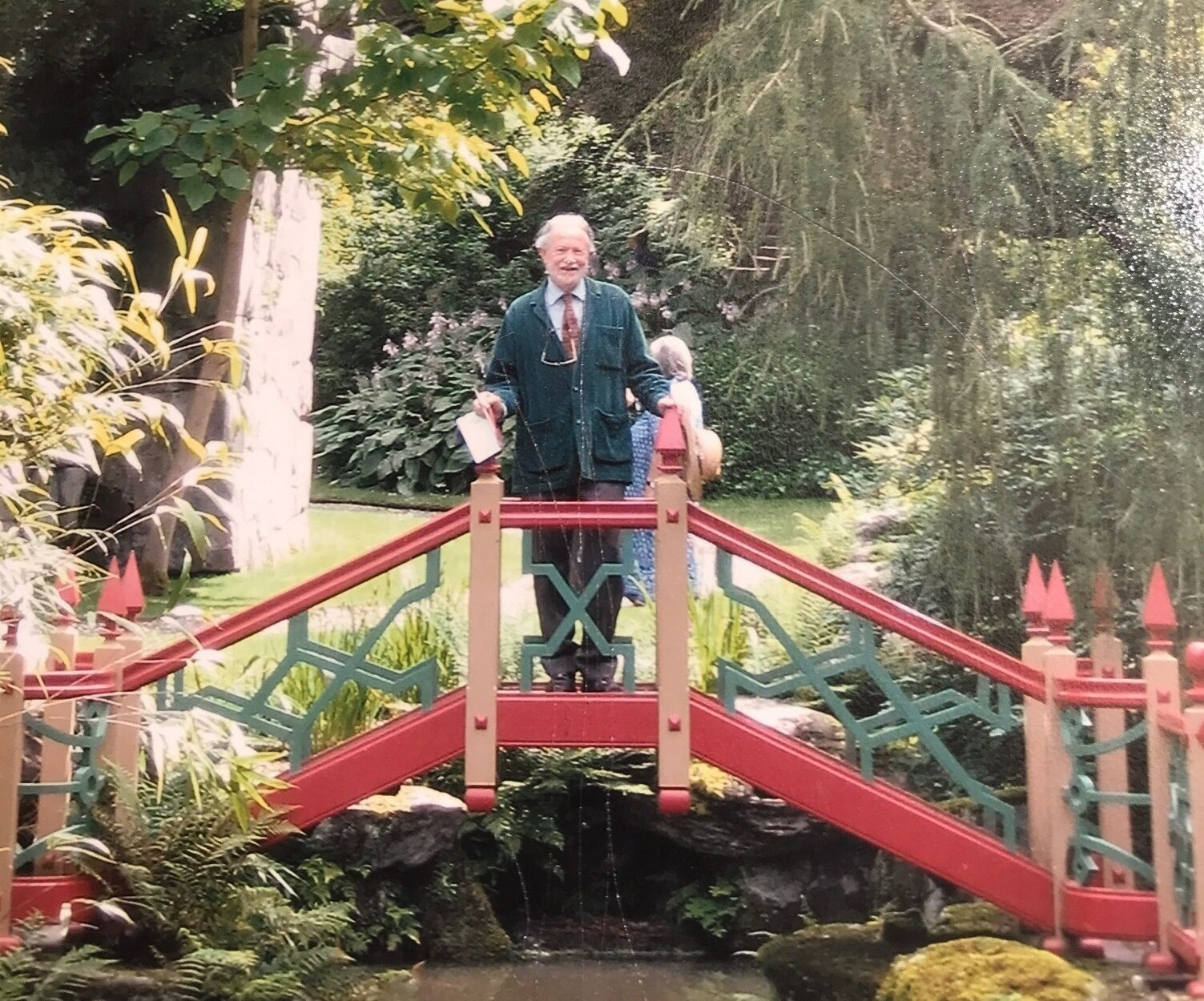 Christopher Thacker standing on the Chinese bridge at Biddulph Grange