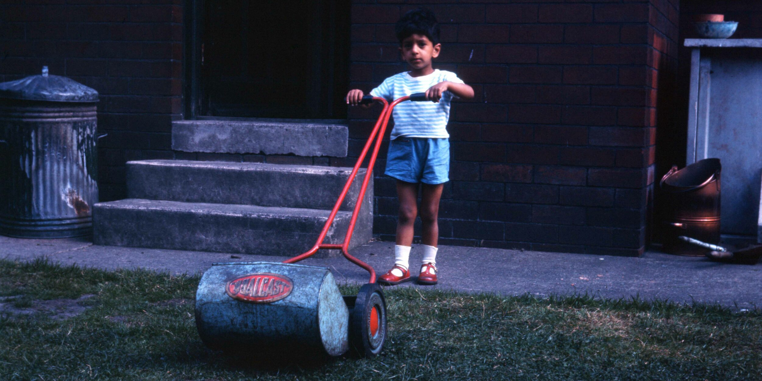 Rajat Jindal as a child in his mother's garden