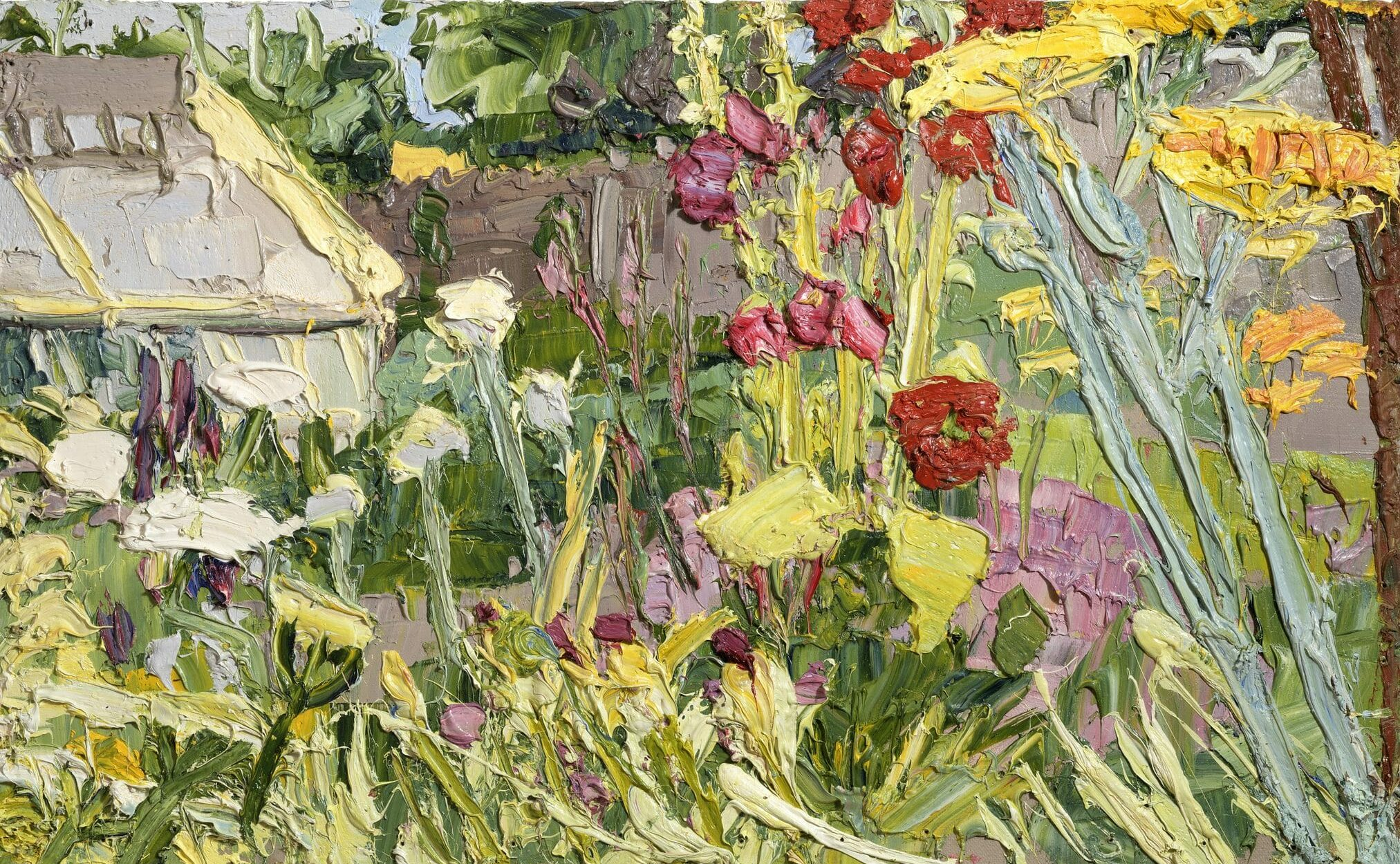 George Rowlett, Through Hollyhocks, Allium Stipitatum, Fennel, and Wild Carrot to the Greenhouse, 18-19 July 2018 © The Artist
