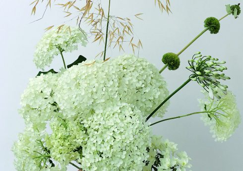 July bouquet using garden-picked flowers – smooth hydrangea, agapanthus, golden oats and phlomis seed heads Picture credit: courtesy Bold Oxlip 255