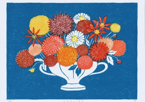 Dahlias Linocut Design by Jeff Josephine