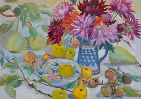 Dahlias and Autumn Fruit by Mary McCarthy