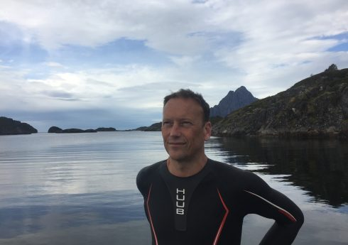 Christopher Woodward's 2017 swim in the Arctic Circle, photo by Swimquest