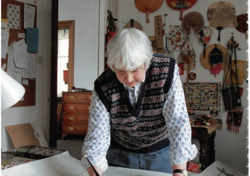 Elizabeth Blackadder in her studio