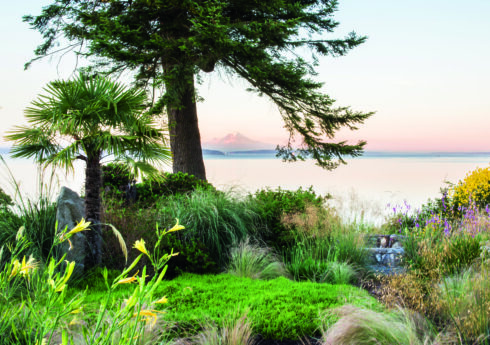 Vista. A view from Windcliff, Indianola, Washington, USA, designed by Dan Hinkley, overlooking Puget Sound to Mount Rainier. Open to the public. Picture credit: © Claire Takacs