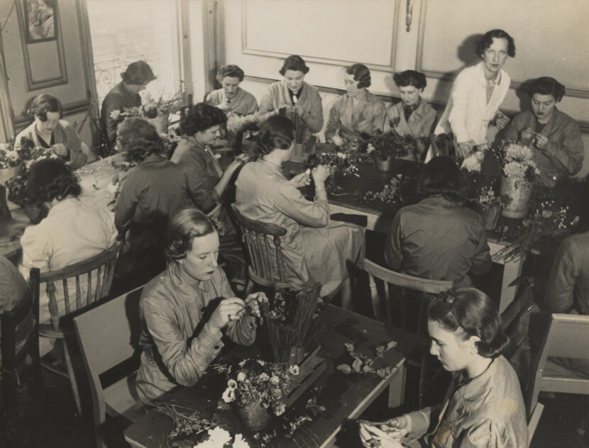 Workroom at Constance Spry's Marylebone Road School of Floristry, c.1940, photographer unknown / RHS Lindley Collections