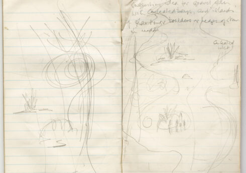 Beth Chatto's notebook from the Burren, Ireland, c.1990. Showing a dry river bed she used as inspiration for the Gravel Garden.